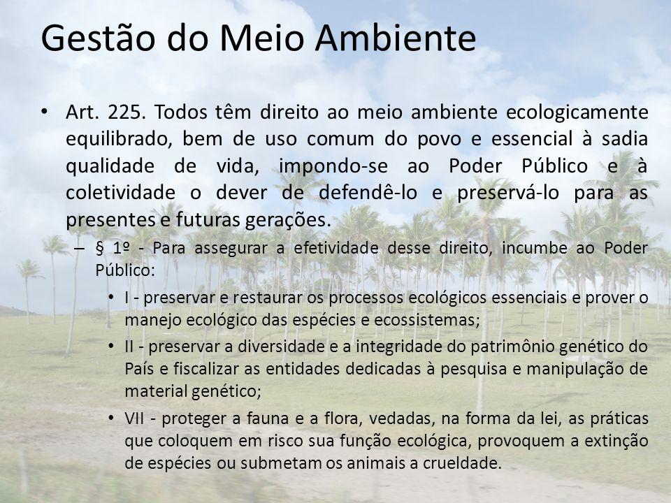 Gestão do Meio Ambiente Art. 225. Todos têm direito ao meio ambiente ecologicamente equilibrado, bem de uso comum do povo e essencial à sadia qualidad