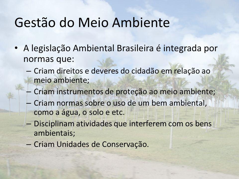 Gestão do Meio Ambiente A legislação Ambiental Brasileira é integrada por normas que: – Criam direitos e deveres do cidadão em relação ao meio ambiente; – Criam instrumentos de proteção ao meio ambiente; – Criam normas sobre o uso de um bem ambiental, como a água, o solo e etc.