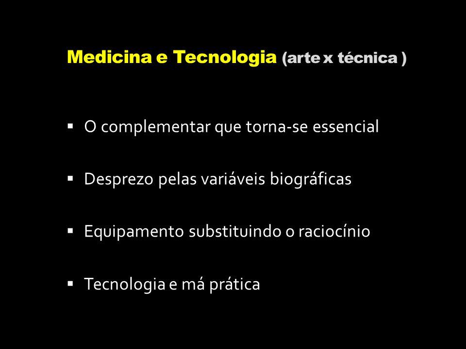 Medicina e Tecnologia (arte x técnica ) O complementar que torna-se essencial Desprezo pelas variáveis biográficas Equipamento substituindo o raciocín