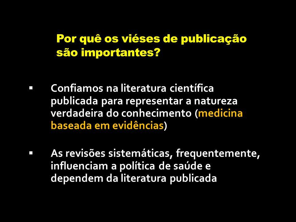 Por quê os viéses de publicação são importantes? Confiamos na literatura científica publicada para representar a natureza verdadeira do conhecimento (