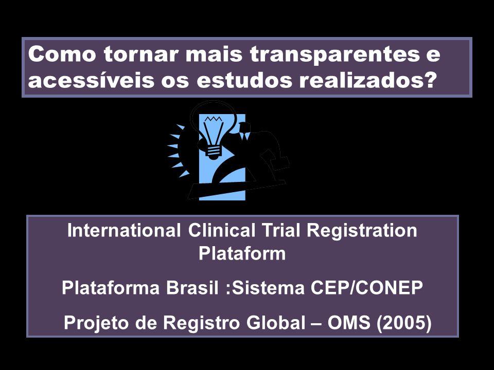 Como tornar mais transparentes e acessíveis os estudos realizados? International Clinical Trial Registration Plataform Plataforma Brasil :Sistema CEP/