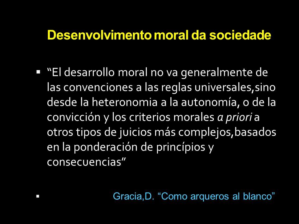 Desenvolvimento moral da sociedade El desarrollo moral no va generalmente de las convenciones a las reglas universales,sino desde la heteronomia a la