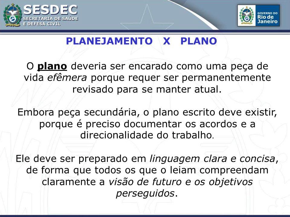 PLANEJAMENTO X PLANO O plano deveria ser encarado como uma peça de vida efêmera porque requer ser permanentemente revisado para se manter atual. Embor