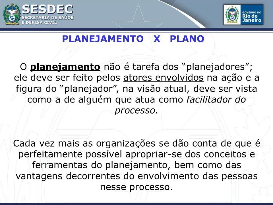PLANEJAMENTO X PLANO O planejamento não é tarefa dos planejadores; ele deve ser feito pelos atores envolvidos na ação e a figura do planejador, na vis