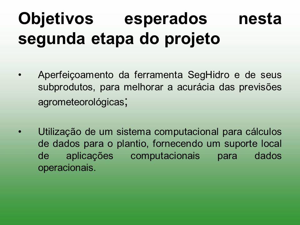 Objetivos esperados nesta segunda etapa do projeto Aperfeiçoamento da ferramenta SegHidro e de seus subprodutos, para melhorar a acurácia das previsõe