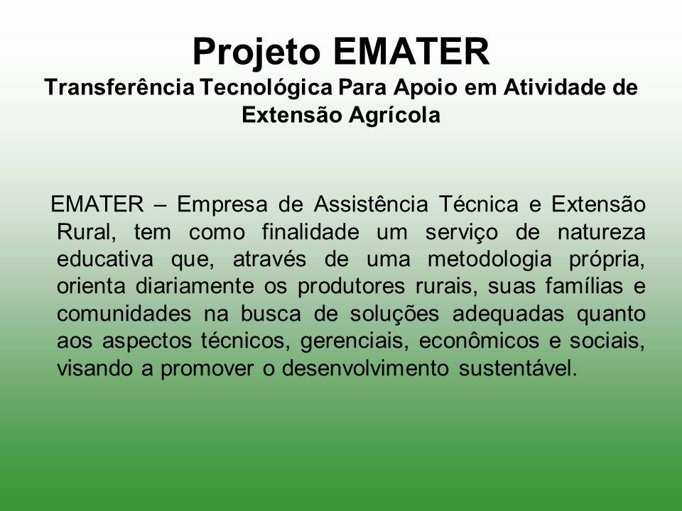 Projeto EMATER Transferência Tecnológica Para Apoio em Atividade de Extensão Agrícola EMATER – Empresa de Assistência Técnica e Extensão Rural, tem co