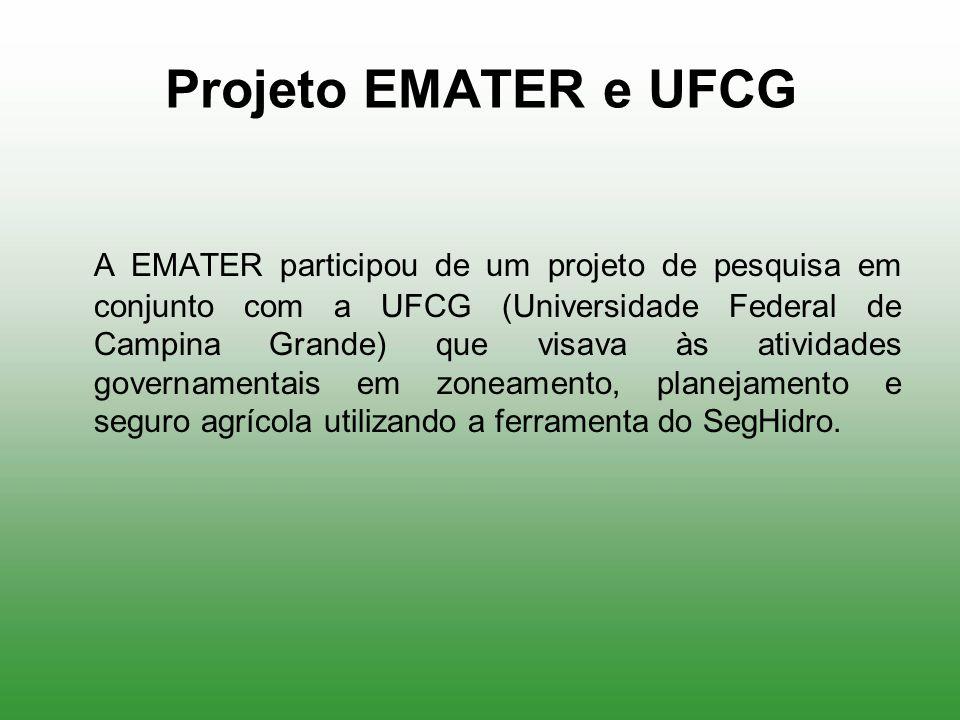 Projeto EMATER e UFCG A EMATER participou de um projeto de pesquisa em conjunto com a UFCG (Universidade Federal de Campina Grande) que visava às ativ