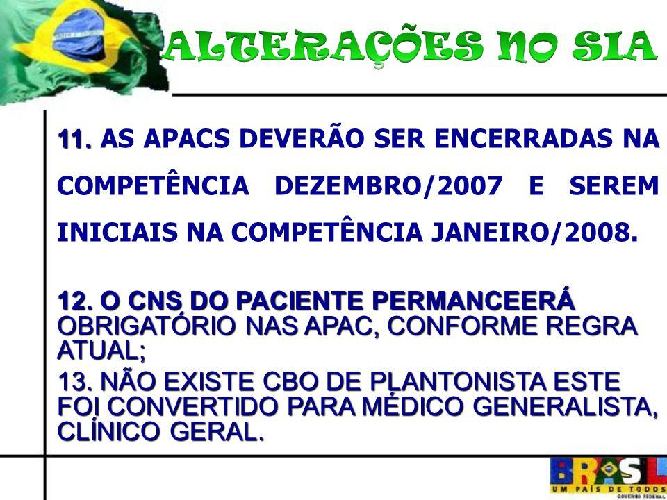 11. 11. AS APACS DEVERÃO SER ENCERRADAS NA COMPETÊNCIA DEZEMBRO/2007 E SEREM INICIAIS NA COMPETÊNCIA JANEIRO/2008. 12. O CNS DO PACIENTE PERMANCEERÁ O