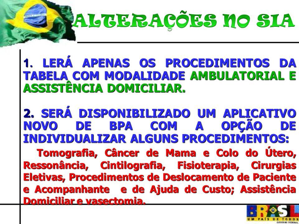 1. LERÁ APENAS OS PROCEDIMENTOS DA TABELA COM MODALIDADE AMBULATORIAL E ASSISTÊNCIA DOMICILIAR.