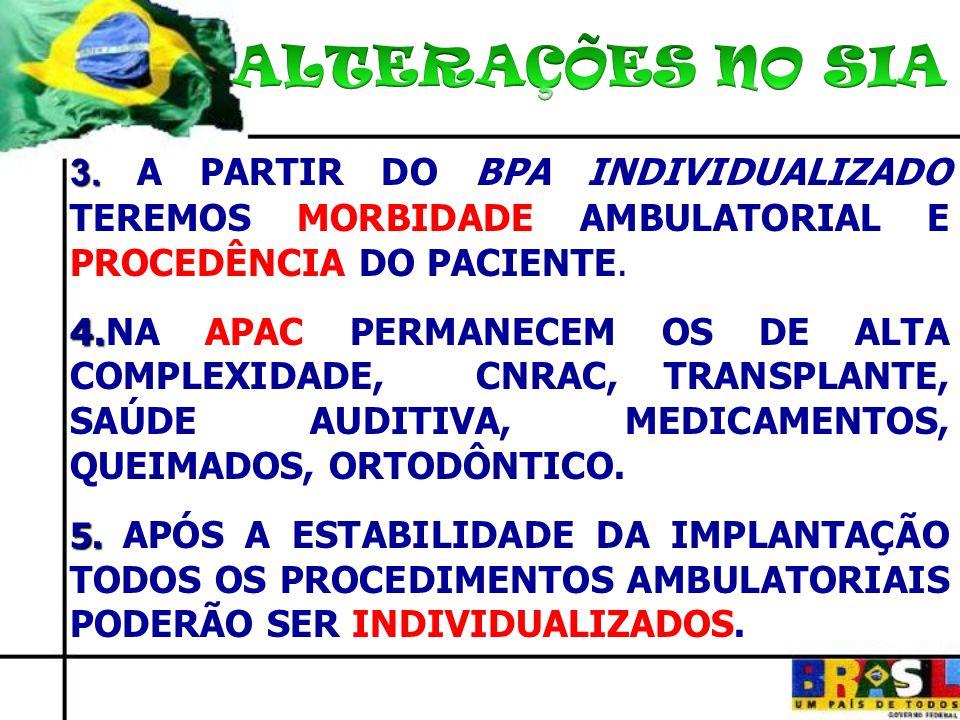 3. 3. A PARTIR DO BPA INDIVIDUALIZADO TEREMOS MORBIDADE AMBULATORIAL E PROCEDÊNCIA DO PACIENTE. 4. 4.NA APAC PERMANECEM OS DE ALTA COMPLEXIDADE, CNRAC