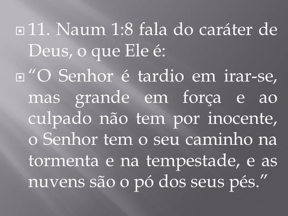 11. Naum 1:8 fala do caráter de Deus, o que Ele é: O Senhor é tardio em irar-se, mas grande em força e ao culpado não tem por inocente, o Senhor tem o