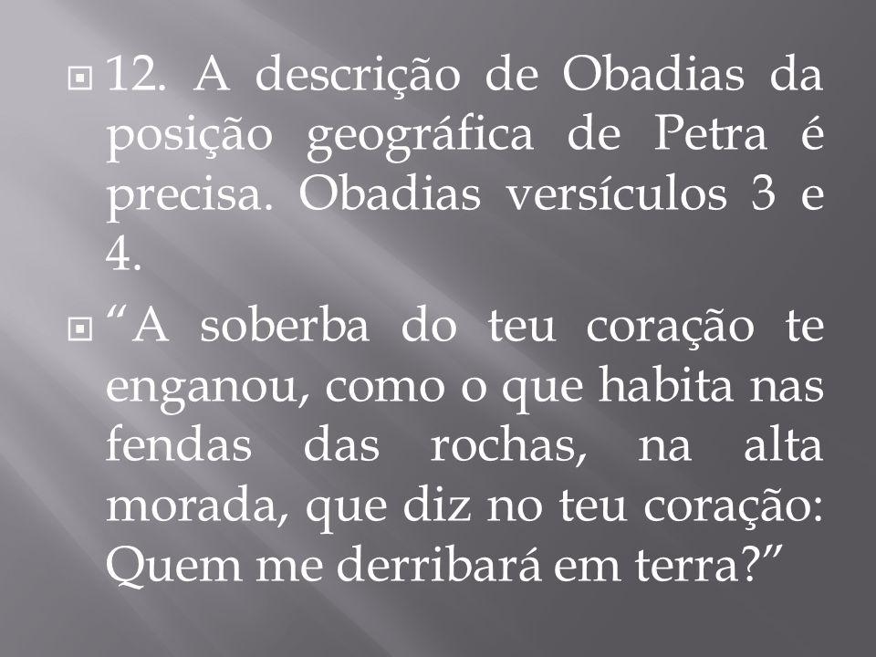 12. A descrição de Obadias da posição geográfica de Petra é precisa. Obadias versículos 3 e 4. A soberba do teu coração te enganou, como o que habita