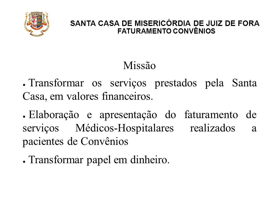 SANTA CASA DE MISERICÓRDIA DE JUIZ DE FORA FATURAMENTO CONVÊNIOS Missão Transformar os serviços prestados pela Santa Casa, em valores financeiros. Ela