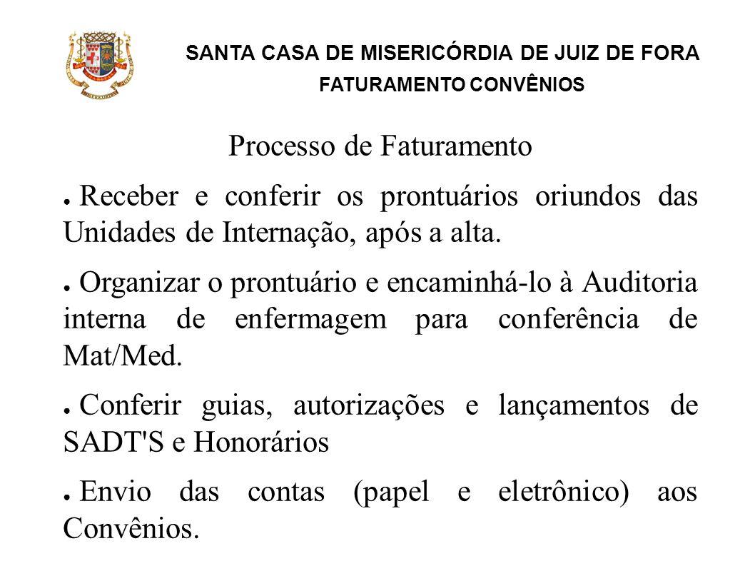 SANTA CASA DE MISERICÓRDIA DE JUIZ DE FORA FATURAMENTO CONVÊNIOS Recebimento dos Convênios Controle e baixa de pagamentos através dos relatórios Análise das glosas Recursos das glosas quando devido