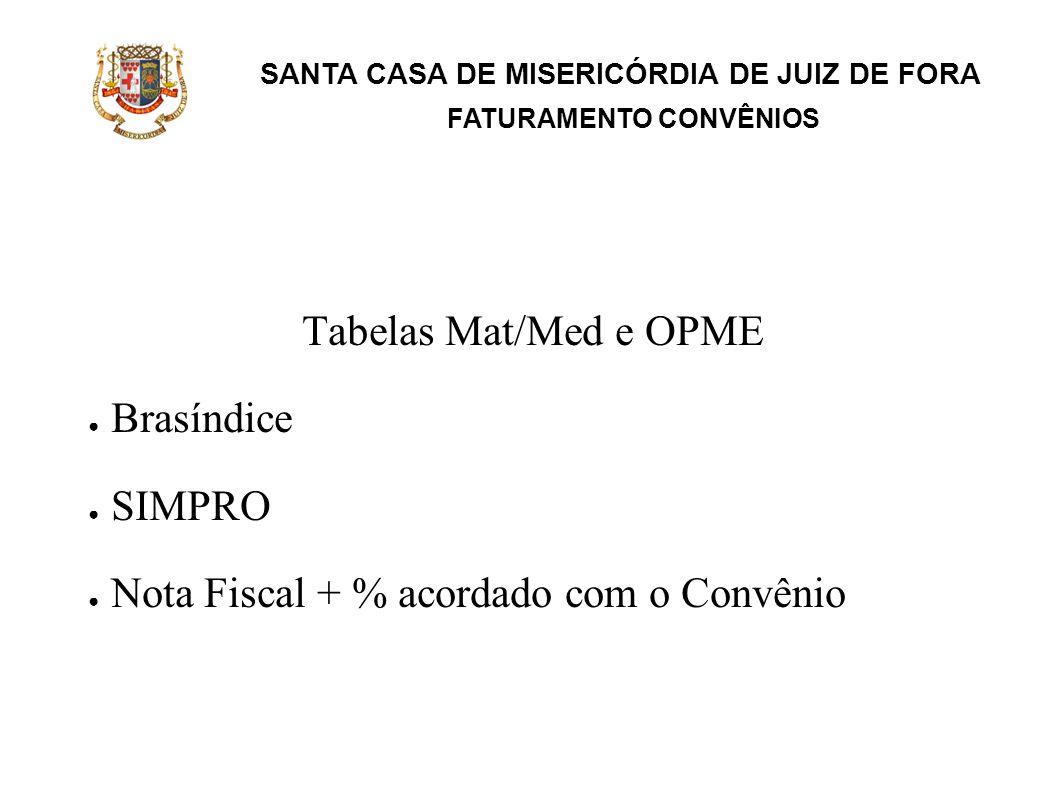 SANTA CASA DE MISERICÓRDIA DE JUIZ DE FORA FATURAMENTO CONVÊNIOS Tabelas de Diárias e Taxas Tabela própria Tabela do Convênio