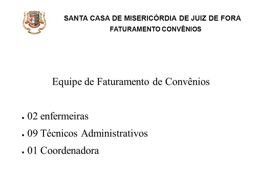 SANTA CASA DE MISERICÓRDIA DE JUIZ DE FORA FATURAMENTO CONVÊNIOS Equipe de Faturamento de Convênios 02 enfermeiras 09 Técnicos Administrativos 01 Coor