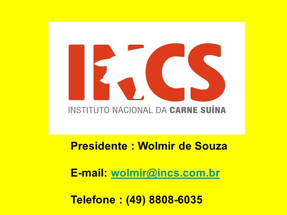 Presidente : Wolmir de Souza E-mail: wolmir@incs.com.brwolmir@incs.com.br Telefone : (49) 8808-6035