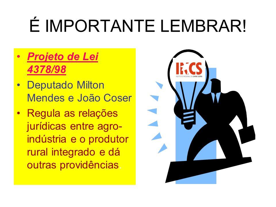 É IMPORTANTE LEMBRAR! Projeto de Lei 4378/98 Deputado Milton Mendes e João Coser Regula as relações jurídicas entre agro- indústria e o produtor rural
