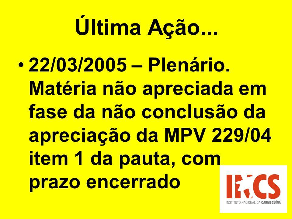 Última Ação... 22/03/2005 – Plenário. Matéria não apreciada em fase da não conclusão da apreciação da MPV 229/04 item 1 da pauta, com prazo encerrado