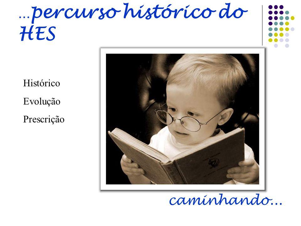 ... percurso histórico do HES Histórico Evolução Prescrição caminhando...