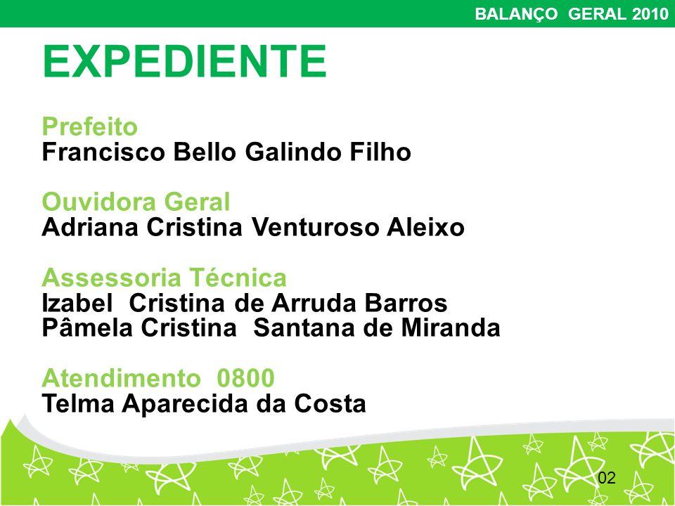 2 BALANÇO GERAL 2010 EXPEDIENTE Prefeito Francisco Bello Galindo Filho Ouvidora Geral Adriana Cristina Venturoso Aleixo Assessoria Técnica Izabel Cris