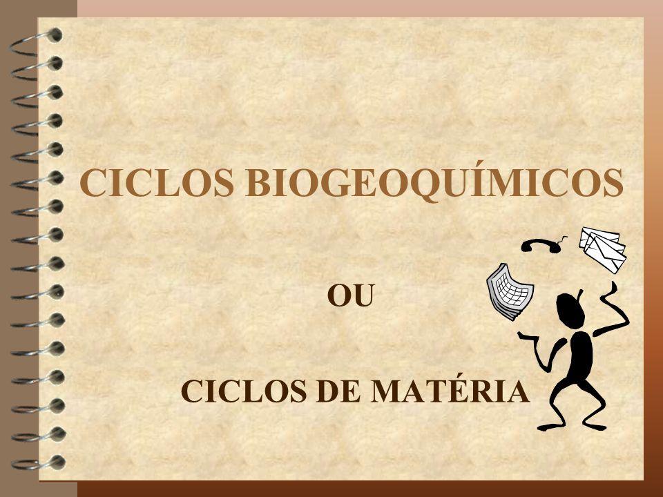 CICLOS BIOGEOQUÍMICOS OU CICLOS DE MATÉRIA