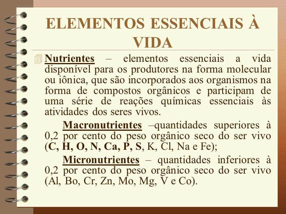 ELEMENTOS ESSENCIAIS À VIDA 4 Nutrientes – elementos essenciais a vida disponível para os produtores na forma molecular ou iônica, que são incorporado