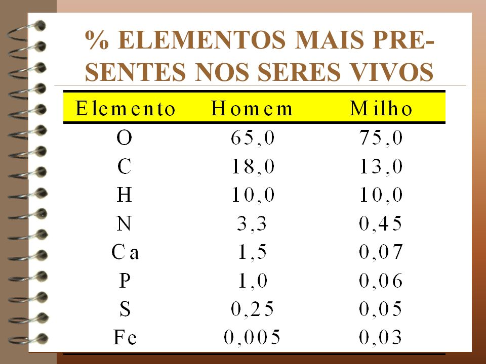 % ELEMENTOS MAIS PRE- SENTES NOS SERES VIVOS