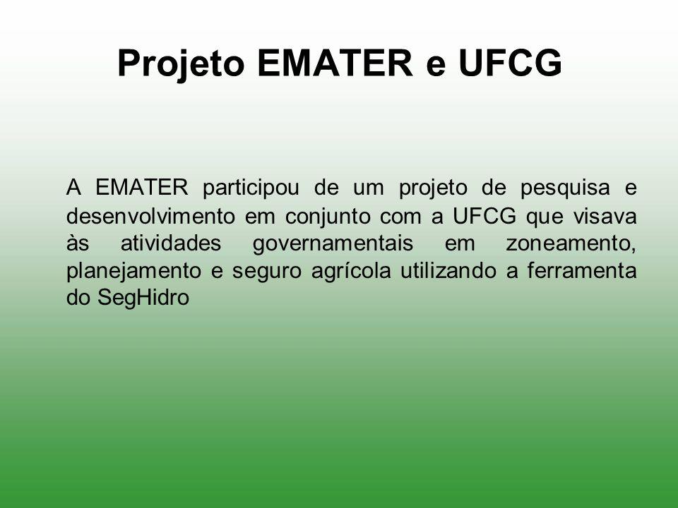 Projeto EMATER e UFCG A EMATER participou de um projeto de pesquisa e desenvolvimento em conjunto com a UFCG que visava às atividades governamentais e