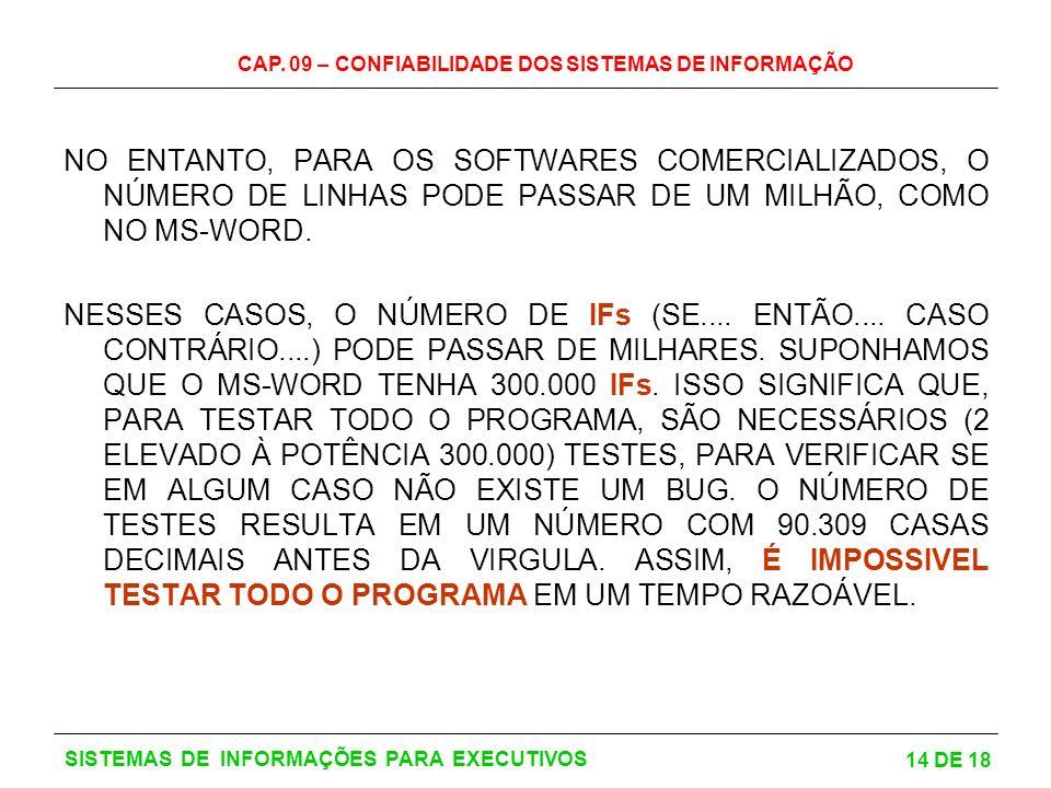 CAP. 09 – CONFIABILIDADE DOS SISTEMAS DE INFORMAÇÃO 14 DE 18 SISTEMAS DE INFORMAÇÕES PARA EXECUTIVOS NO ENTANTO, PARA OS SOFTWARES COMERCIALIZADOS, O