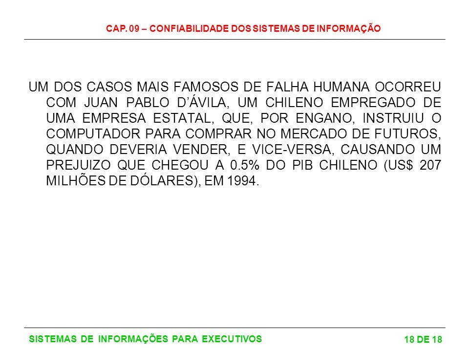 CAP. 09 – CONFIABILIDADE DOS SISTEMAS DE INFORMAÇÃO 18 DE 18 SISTEMAS DE INFORMAÇÕES PARA EXECUTIVOS UM DOS CASOS MAIS FAMOSOS DE FALHA HUMANA OCORREU