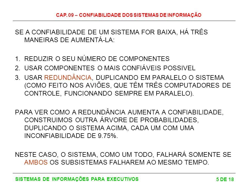 CAP. 09 – CONFIABILIDADE DOS SISTEMAS DE INFORMAÇÃO 5 DE 18 SISTEMAS DE INFORMAÇÕES PARA EXECUTIVOS SE A CONFIABILIDADE DE UM SISTEMA FOR BAIXA, HÁ TR