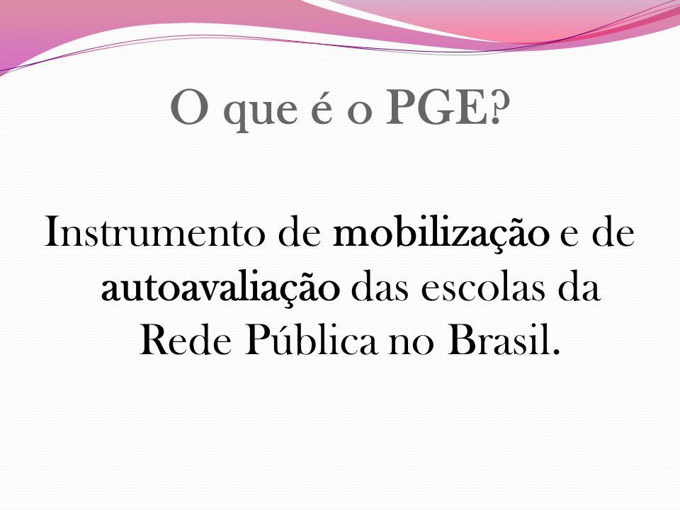 O que é o PGE? Instrumento de mobilização e de autoavaliação das escolas da Rede Pública no Brasil.