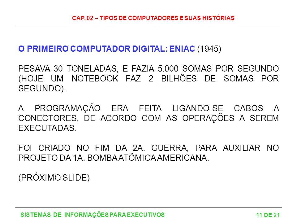 CAP. 02 – TIPOS DE COMPUTADORES E SUAS HISTÓRIAS 11 DE 21 SISTEMAS DE INFORMAÇÕES PARA EXECUTIVOS O PRIMEIRO COMPUTADOR DIGITAL: ENIAC (1945) PESAVA 3
