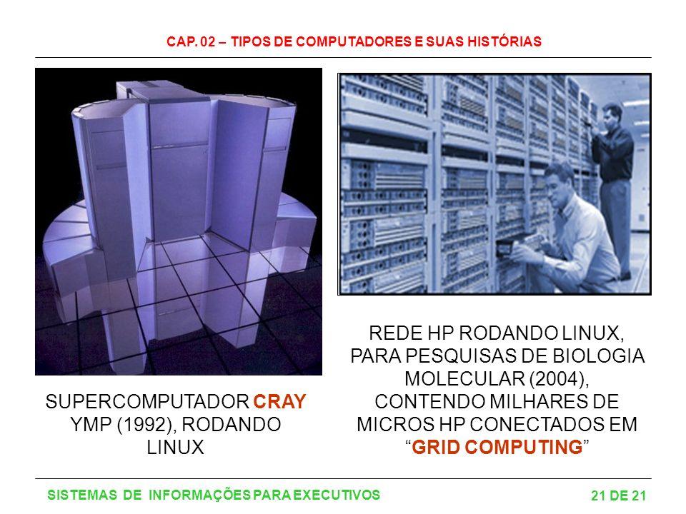 CAP. 02 – TIPOS DE COMPUTADORES E SUAS HISTÓRIAS 21 DE 21 SISTEMAS DE INFORMAÇÕES PARA EXECUTIVOS SUPERCOMPUTADOR CRAY YMP (1992), RODANDO LINUX REDE