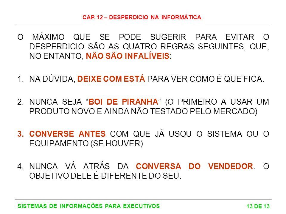 CAP. 12 – DESPERDICIO NA INFORMÁTICA 13 DE 13 SISTEMAS DE INFORMAÇÕES PARA EXECUTIVOS O MÁXIMO QUE SE PODE SUGERIR PARA EVITAR O DESPERDICIO SÃO AS QU