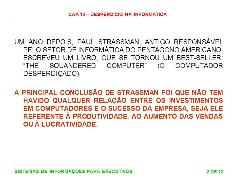 CAP. 12 – DESPERDICIO NA INFORMÁTICA 2 DE 13 SISTEMAS DE INFORMAÇÕES PARA EXECUTIVOS UM ANO DEPOIS, PAUL STRASSMAN, ANTIGO RESPONSÁVEL PELO SETOR DE I