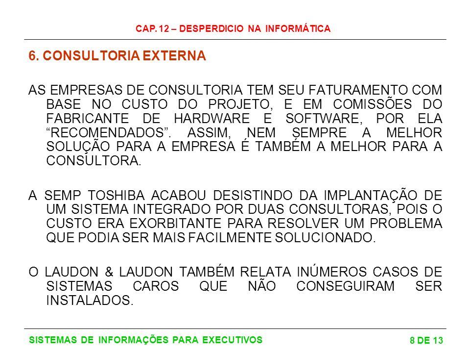 CAP. 12 – DESPERDICIO NA INFORMÁTICA 8 DE 13 SISTEMAS DE INFORMAÇÕES PARA EXECUTIVOS 6. CONSULTORIA EXTERNA AS EMPRESAS DE CONSULTORIA TEM SEU FATURAM