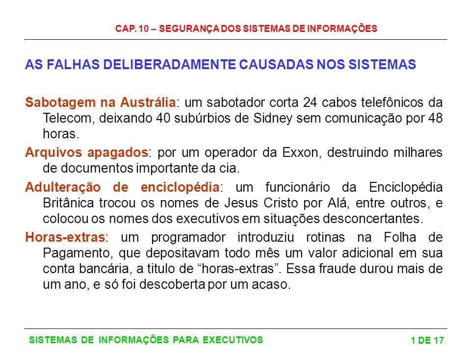 CAP. 10 – SEGURANÇA DOS SISTEMAS DE INFORMAÇÕES 1 DE 17 SISTEMAS DE INFORMAÇÕES PARA EXECUTIVOS AS FALHAS DELIBERADAMENTE CAUSADAS NOS SISTEMAS Sabota