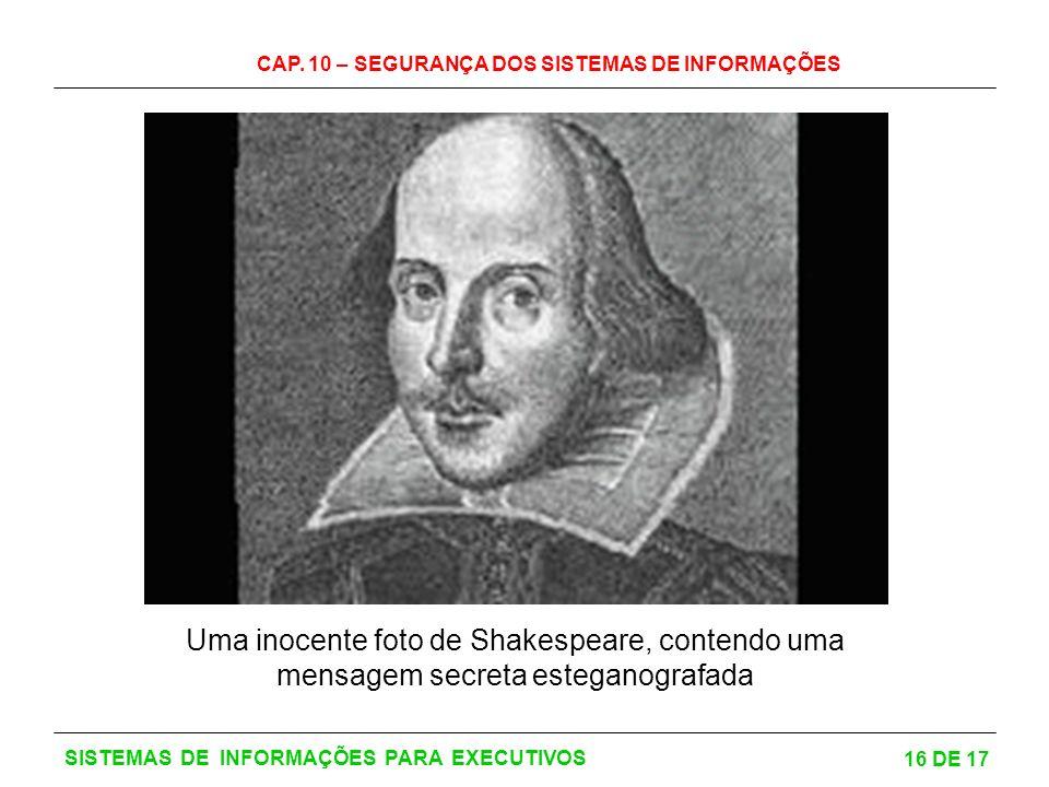 CAP. 10 – SEGURANÇA DOS SISTEMAS DE INFORMAÇÕES 16 DE 17 SISTEMAS DE INFORMAÇÕES PARA EXECUTIVOS Uma inocente foto de Shakespeare, contendo uma mensag
