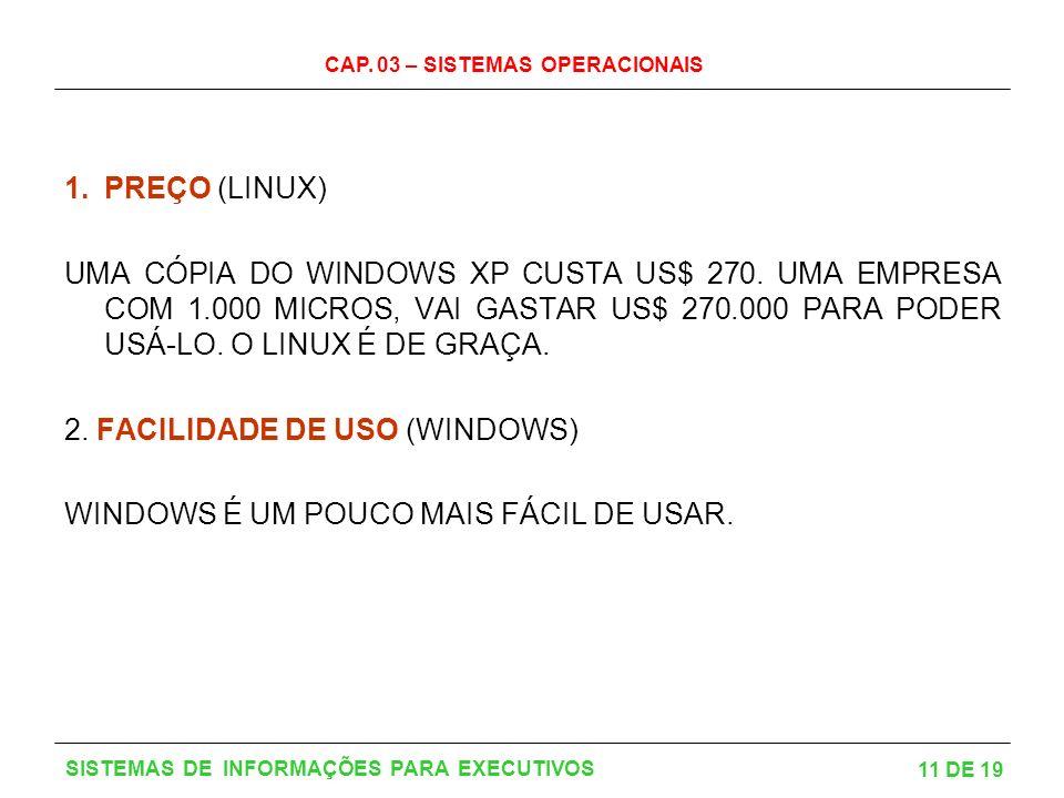 CAP. 03 – SISTEMAS OPERACIONAIS 11 DE 19 SISTEMAS DE INFORMAÇÕES PARA EXECUTIVOS 1.PREÇO (LINUX) UMA CÓPIA DO WINDOWS XP CUSTA US$ 270. UMA EMPRESA CO