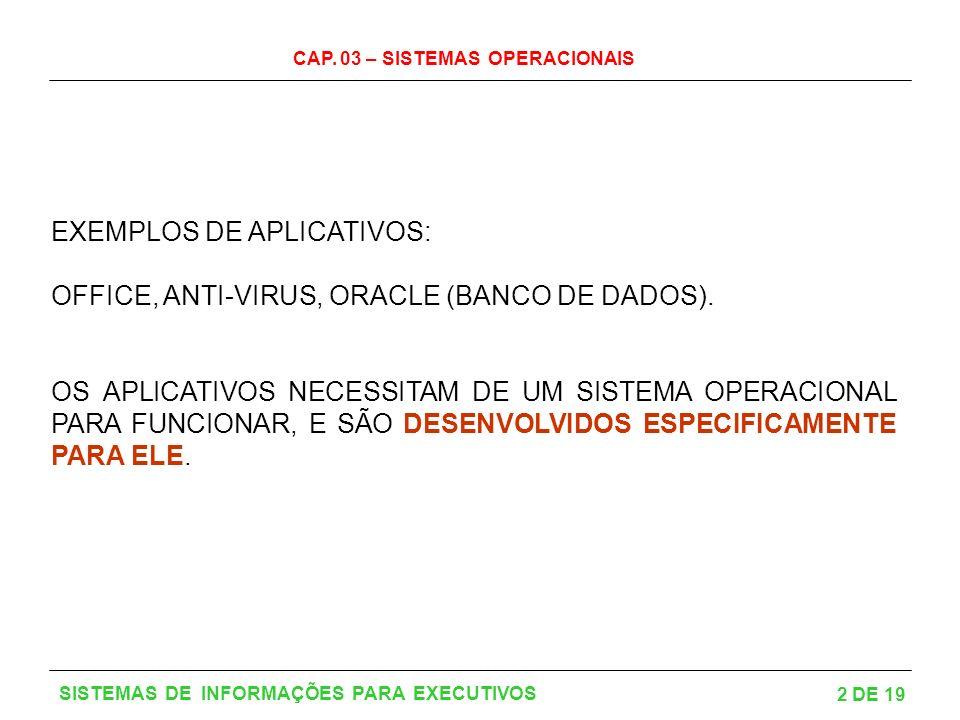 CAP. 03 – SISTEMAS OPERACIONAIS 2 DE 19 SISTEMAS DE INFORMAÇÕES PARA EXECUTIVOS EXEMPLOS DE APLICATIVOS: OFFICE, ANTI-VIRUS, ORACLE (BANCO DE DADOS).