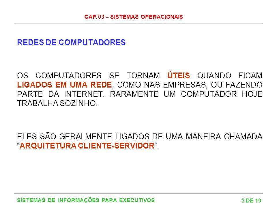 CAP. 03 – SISTEMAS OPERACIONAIS 3 DE 19 SISTEMAS DE INFORMAÇÕES PARA EXECUTIVOS REDES DE COMPUTADORES OS COMPUTADORES SE TORNAM ÚTEIS QUANDO FICAM LIG