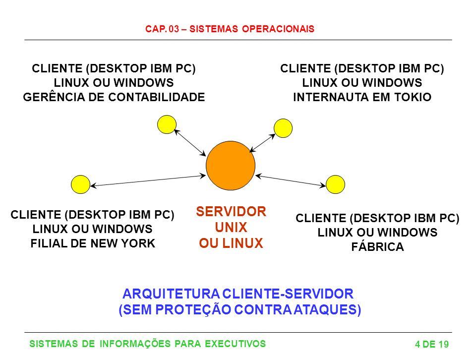 CAP. 03 – SISTEMAS OPERACIONAIS 4 DE 19 SISTEMAS DE INFORMAÇÕES PARA EXECUTIVOS SERVIDOR UNIX OU LINUX CLIENTE (DESKTOP IBM PC) LINUX OU WINDOWS FILIA
