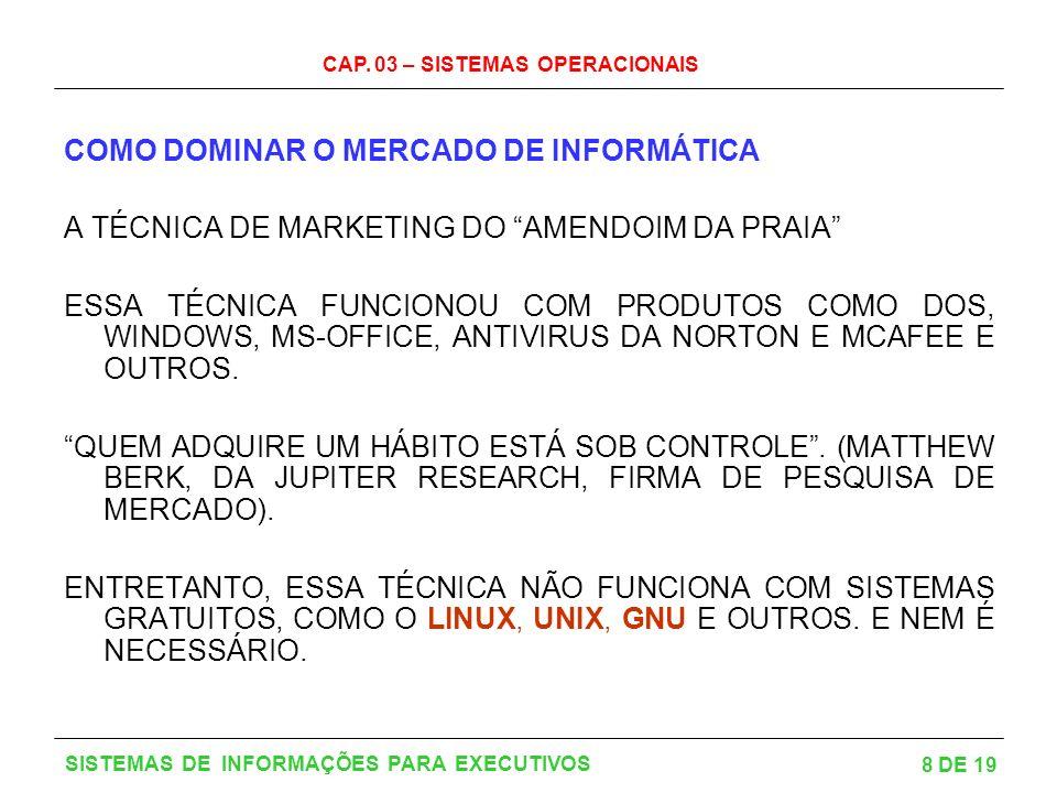 CAP. 03 – SISTEMAS OPERACIONAIS 8 DE 19 SISTEMAS DE INFORMAÇÕES PARA EXECUTIVOS COMO DOMINAR O MERCADO DE INFORMÁTICA A TÉCNICA DE MARKETING DO AMENDO