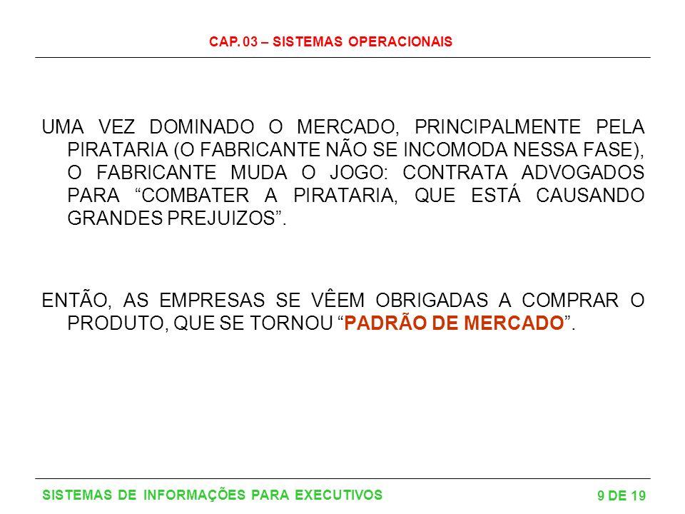 CAP. 03 – SISTEMAS OPERACIONAIS 9 DE 19 SISTEMAS DE INFORMAÇÕES PARA EXECUTIVOS UMA VEZ DOMINADO O MERCADO, PRINCIPALMENTE PELA PIRATARIA (O FABRICANT