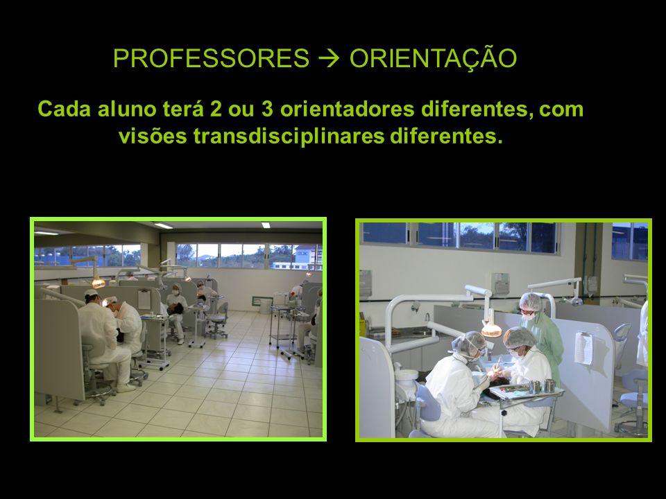 PROFESSORES ORIENTAÇÃO Cada aluno terá 2 ou 3 orientadores diferentes, com visões transdisciplinares diferentes.