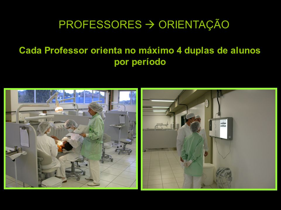 PROFESSORES ORIENTAÇÃO Cada Professor orienta no máximo 4 duplas de alunos por período