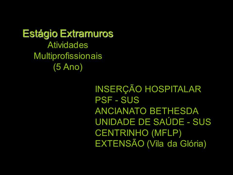 Estágio Extramuros Estágio Extramuros Atividades Multiprofissionais (5 Ano) INSERÇÃO HOSPITALAR PSF - SUS ANCIANATO BETHESDA UNIDADE DE SAÚDE - SUS CE
