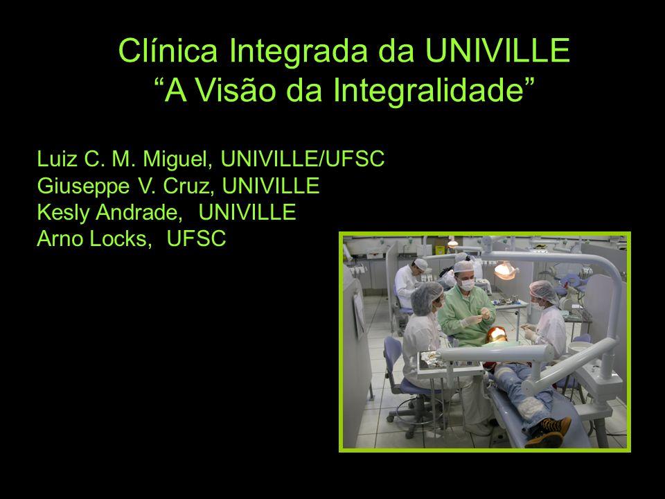 Clínica Integrada da UNIVILLE A Visão da Integralidade Luiz C. M. Miguel, UNIVILLE/UFSC Giuseppe V. Cruz, UNIVILLE Kesly Andrade, UNIVILLE Arno Locks,